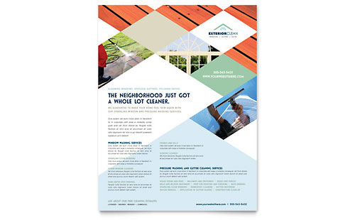 Window Cleaning & Pressure Washing Flyer Template - Microsoft Office