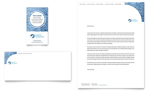 Carpet Cleaning Business Card & Letterhead Template - Microsoft Office
