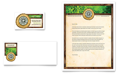 Tree Service Business Card & Letterhead Template - Microsoft Office