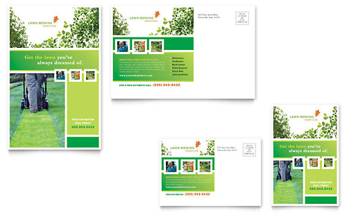 Lawn Mowing Service Postcard Template - Microsoft Office