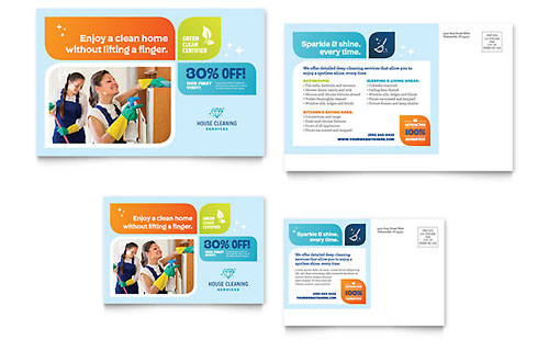 Cleaning Services Postcard Template - Microsoft Office