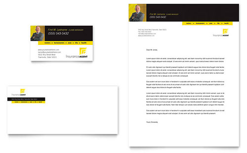 Insurance Agent Business Card & Letterhead Template - Microsoft Office