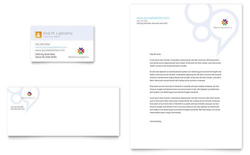 Medical Insurance Business Card & Letterhead Template - Microsoft Office