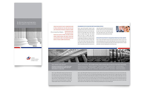 Legal & Government Services Tri Fold Brochure Template - Microsoft Office