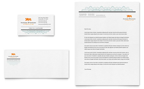 Attorney Business Card & Letterhead Template - Microsoft Office