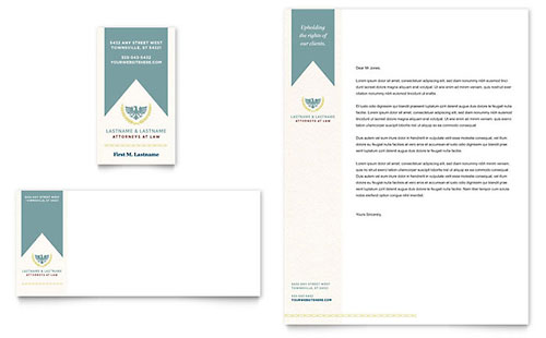 Law Firm Business Card & Letterhead Template - Word & Publisher