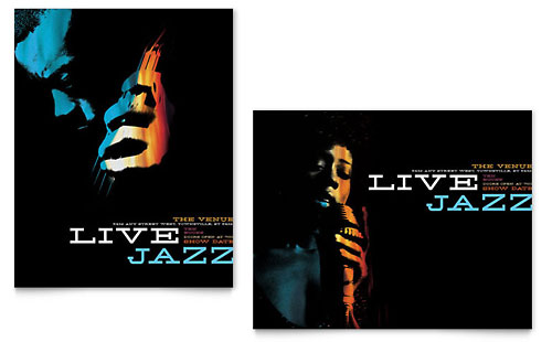 Jazz Music Event Poster Template - Microsoft Office