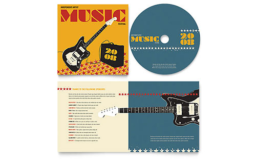 Live Music Festival Event CD Booklet Template - Microsoft Office