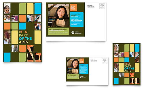 Arts Council & Education Postcard Template - Microsoft Office