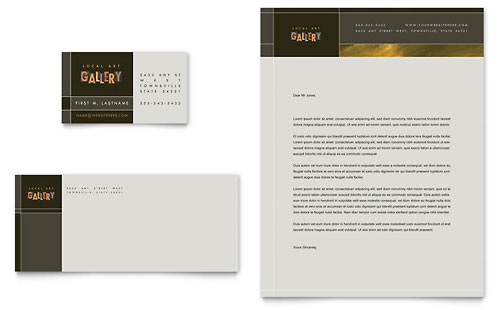 Art Gallery & Artist Business Card & Letterhead Template - Microsoft Office