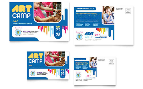 Kids Art Camp Postcard Template - Microsoft Office