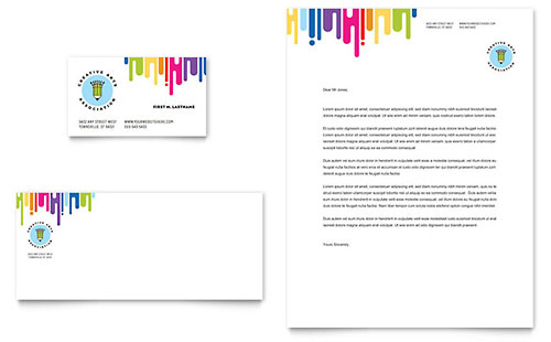 Kids Art Camp Business Card & Letterhead Template - Microsoft Office