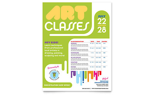 Kids Art Camp Class Flyer Template - Microsoft Office