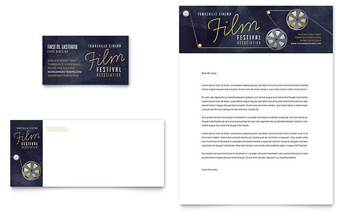Film Festival Business Card & Letterhead Template - Microsoft Office