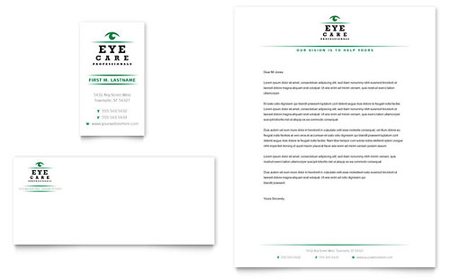 Optometrist & Optician Business Card & Letterhead Template - Microsoft Office