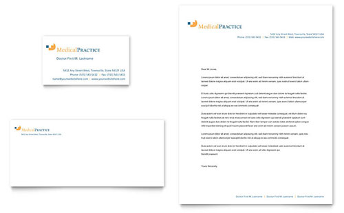 Medical Practice Business Card & Letterhead Template - Microsoft Office
