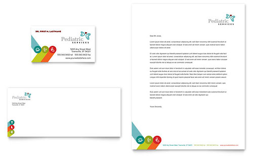 Pediatrician & Child Care Business Card & Letterhead Template - Microsoft Office