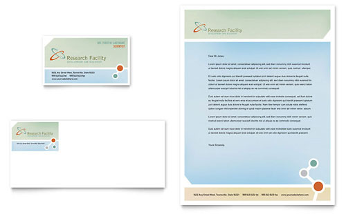 Medical Research Business Card & Letterhead Template - Microsoft Office