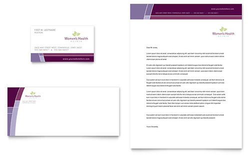 Women's Health Clinic Business Card & Letterhead Template - Microsoft Office