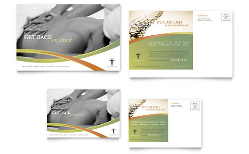 Massage & Chiropractic Postcard Template - Microsoft Office