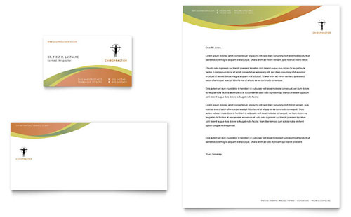 Massage & Chiropractic Business Card & Letterhead Template - Microsoft Office