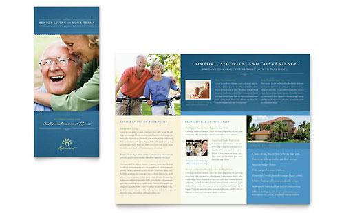 Senior Living Community Tri Fold Brochure Template Design