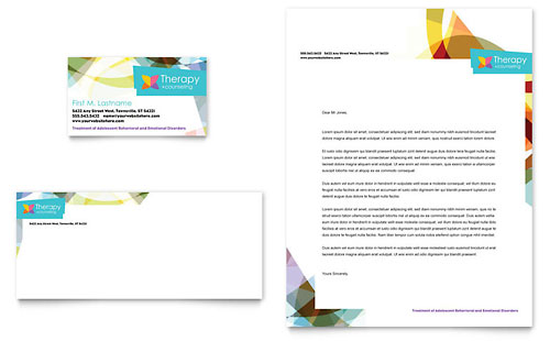 Adolescent Counseling Business Card & Letterhead Template - Microsoft Office