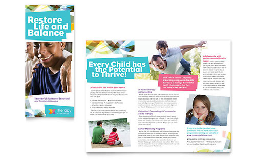 Adolescent Counseling Tri Fold Brochure Template - Microsoft Office