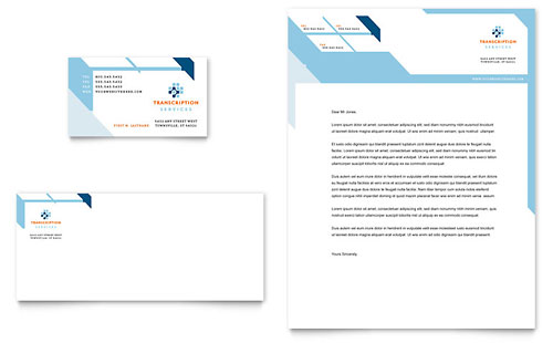 Medical Transcription Business Card & Letterhead Template - Microsoft Office