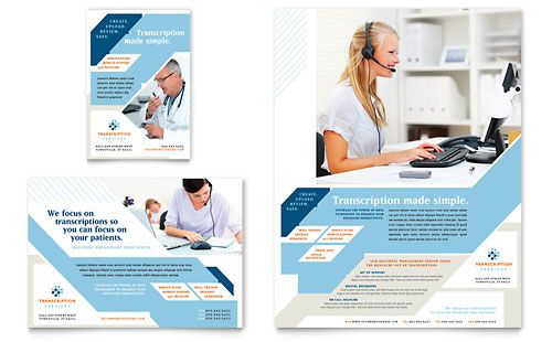 Medical Transcription Flyer & Ad Template Design