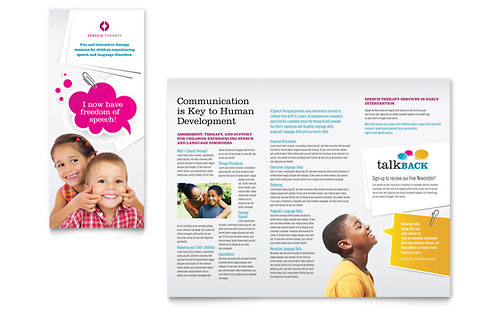 Speech Therapy Education Tri Fold Brochure Template - Microsoft Office