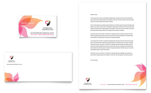 Marriage Counseling Business Card & Letterhead Template - Microsoft Office