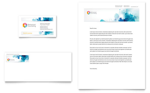Behavioral Counseling Business Card & Letterhead Template - Microsoft Office