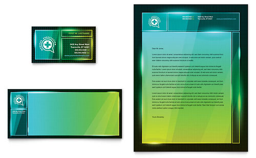 Medical Conference Business Card & Letterhead Template - Microsoft Office