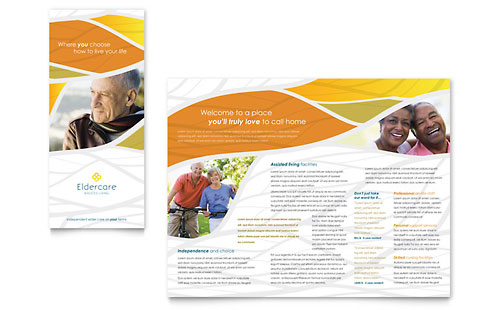 Elder care nursing home brochure template word publisher for Home care brochure template