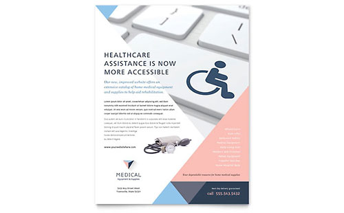 Disability Medical Equipment Flyer Template Design