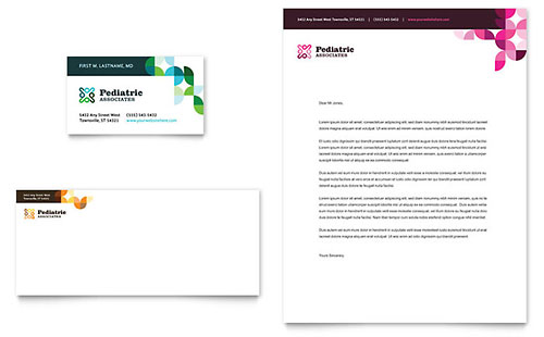 Pediatric Doctor Business Card & Letterhead Template - Microsoft Office