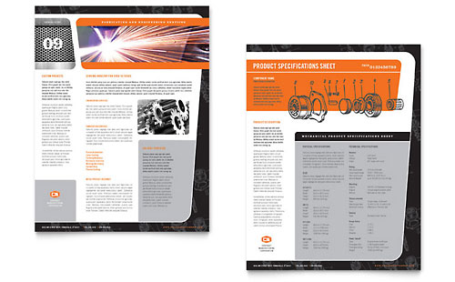 Manufacturing Engineering Datasheet Template - Microsoft Office