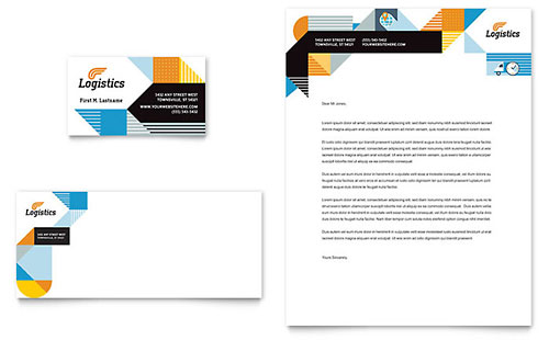 Logistics & Warehousing Business Card & Letterhead Template - Microsoft Office