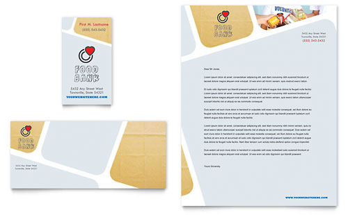 Food Bank Volunteer Business Card & Letterhead Template - Microsoft Office
