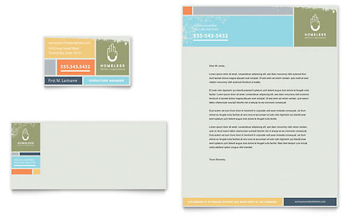 homeless shelter business card  u0026 letterhead template