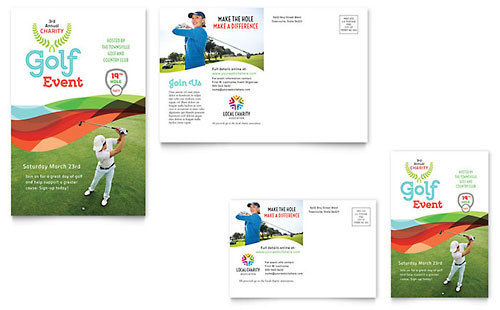 Charity Golf Event Postcard Template Design