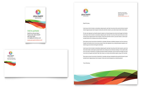 Charity Golf Event Business Card & Letterhead Template Design