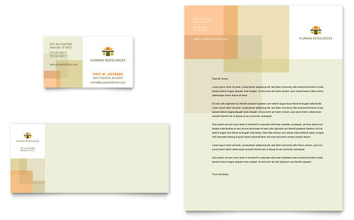 HR Consulting Business Card & Letterhead Template - Microsoft Office