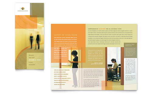 HR Consulting Tri Fold Brochure Template - Microsoft Office