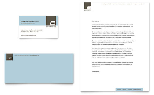 Architect Business Card & Letterhead Template - Microsoft Office