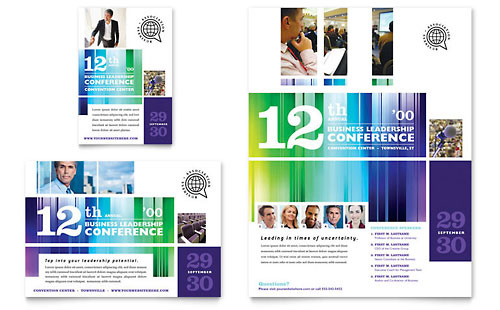 Business Leadership Conference Flyer & Ad Template - Microsoft Office