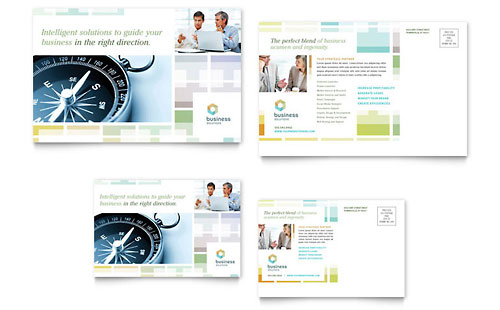 Business Solutions Consultant Postcard Template Design