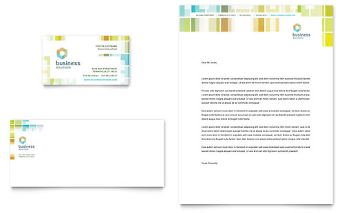 Business Solutions Consultant Business Card & Letterhead Template Design