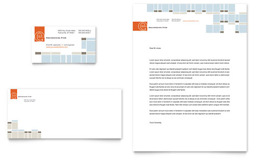 Civil Engineers Business Card & Letterhead Template - Microsoft Office